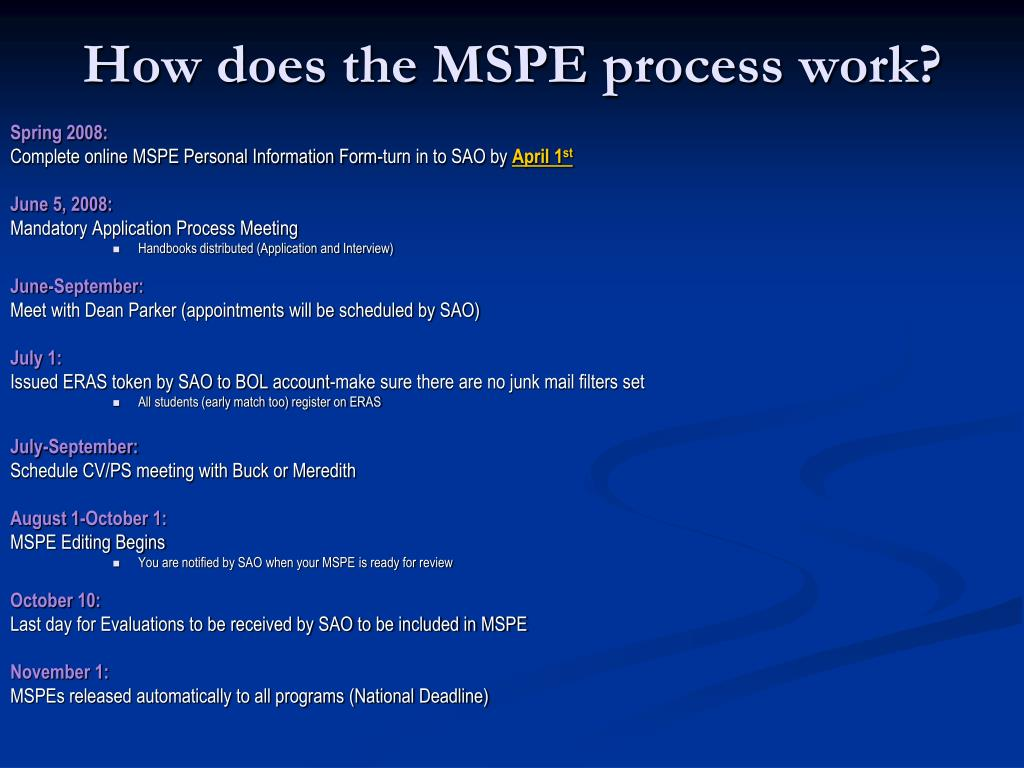 How does the MSPE process work?