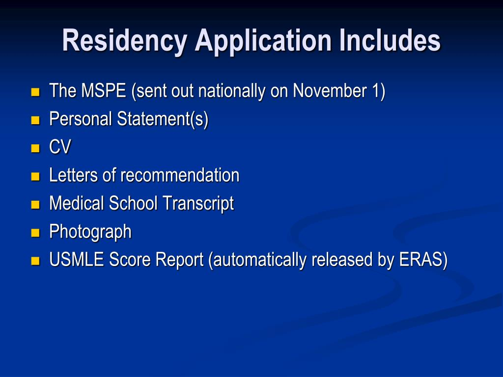 Residency Application Includes
