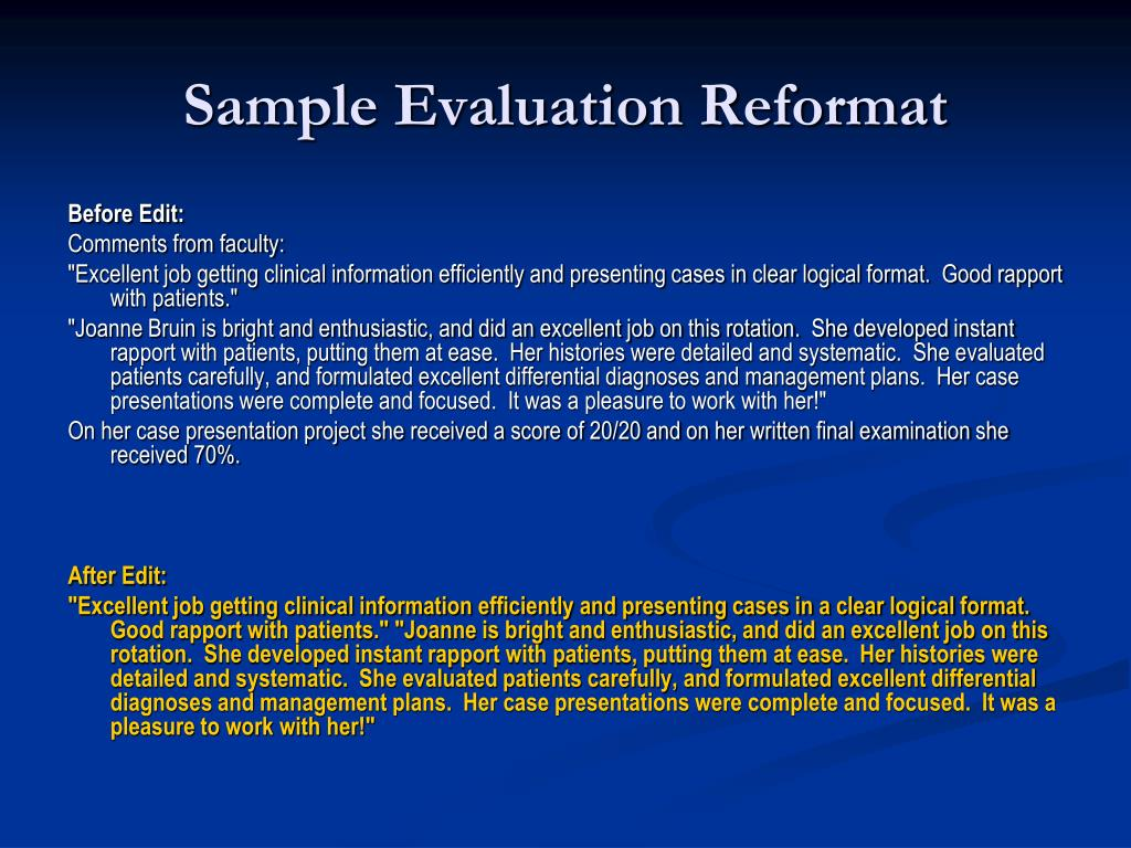 Sample Evaluation Reformat