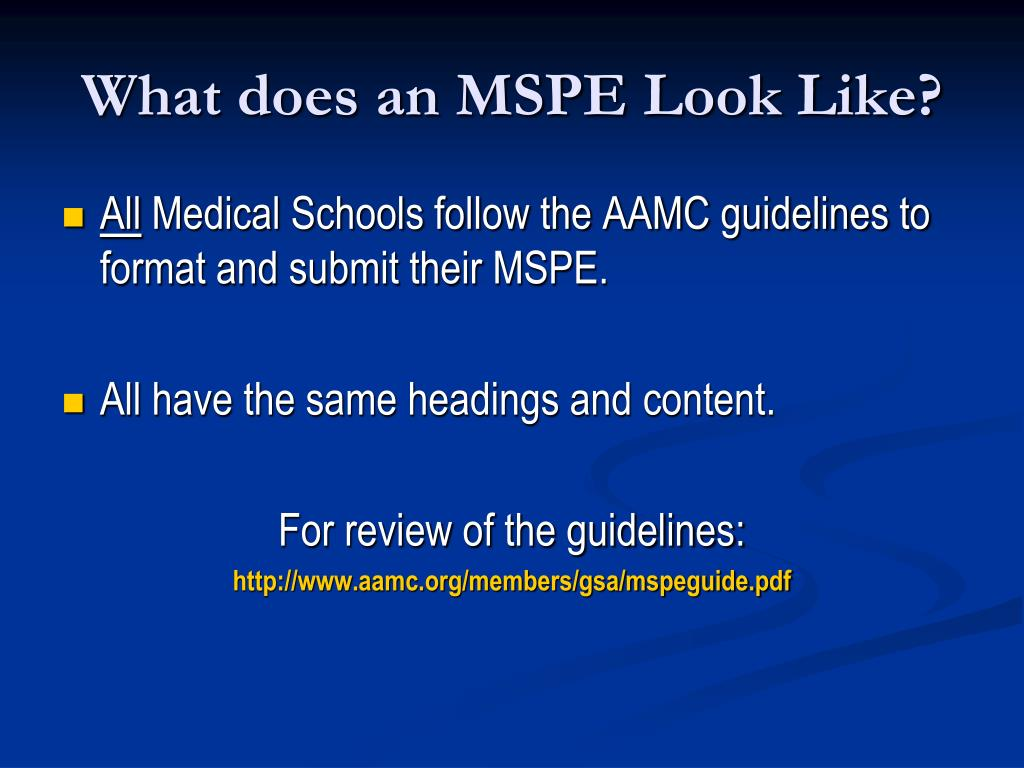 What does an MSPE Look Like?