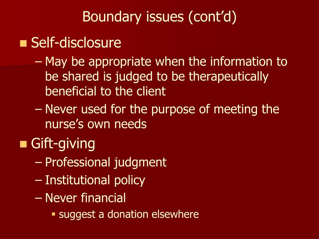 Boundary issues (cont'd)