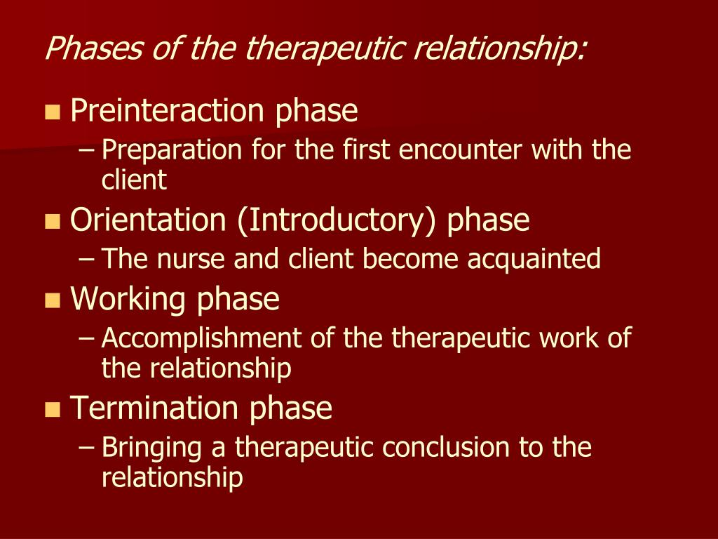 Phases of the therapeutic relationship: