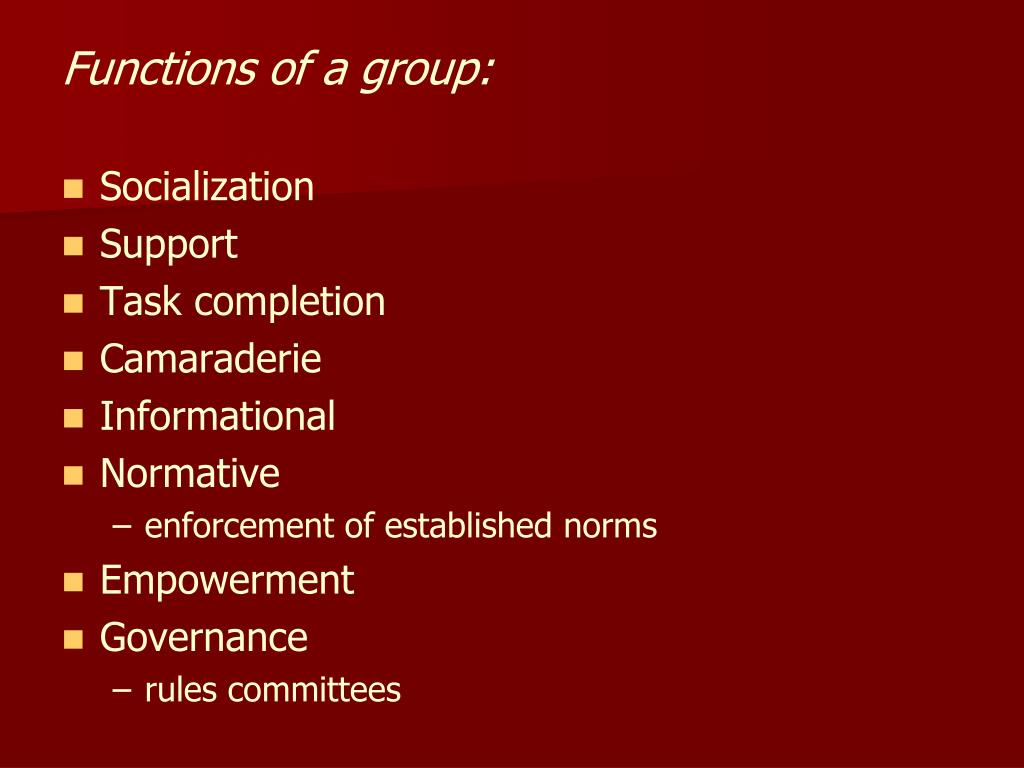 Functions of a group: