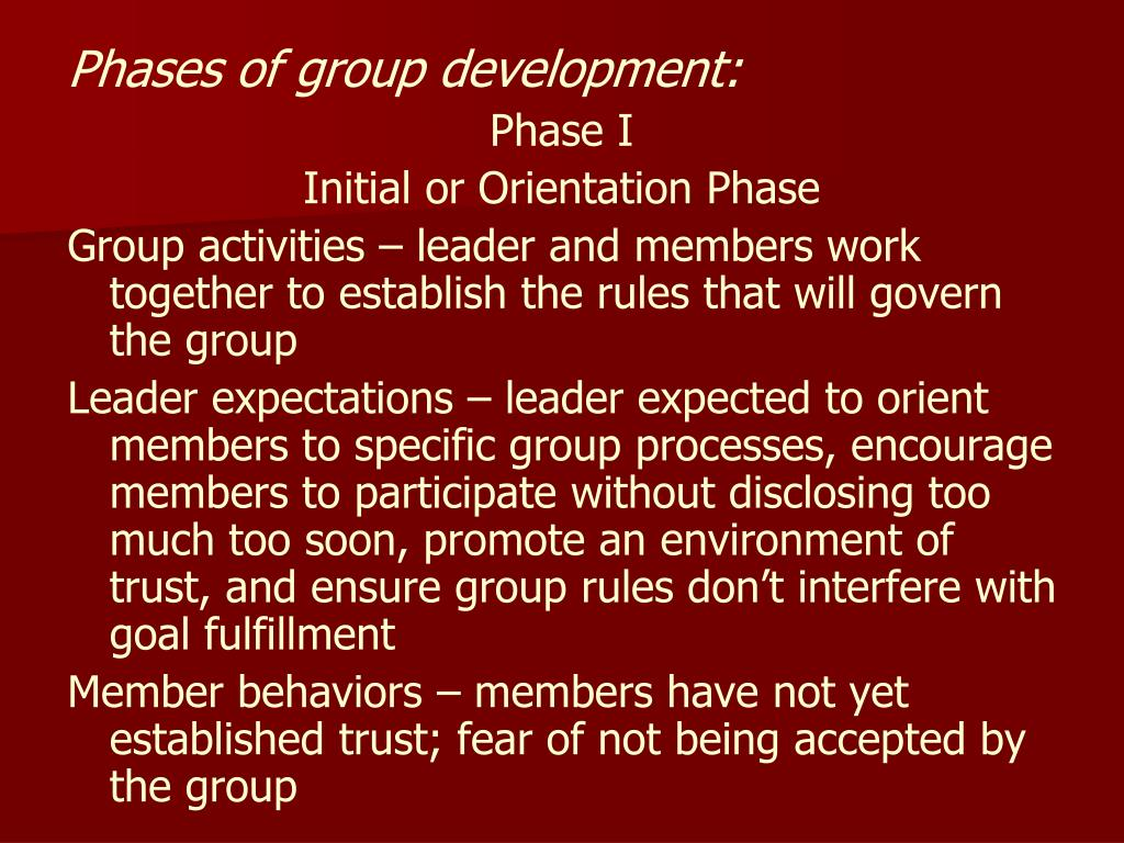 Phases of group development: