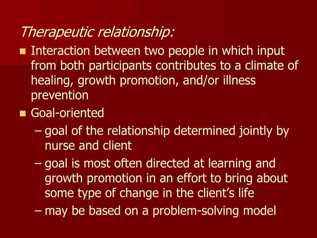 Therapeutic relationship: