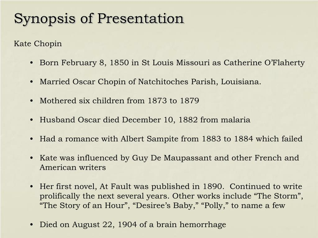 Synopsis of Presentation