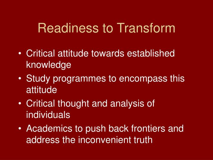 Readiness to Transform