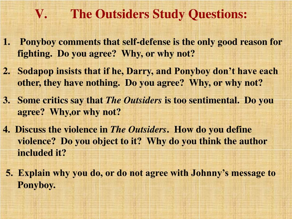 The Outsiders Study Questions: