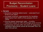 budget reconciliation provisions student loans17