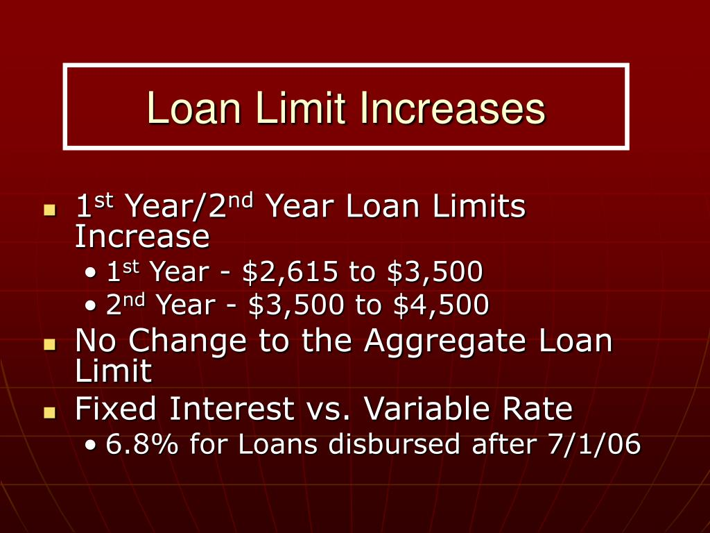 Loan Limit Increases