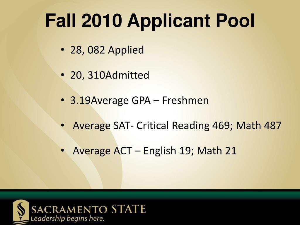 Fall 2010 Applicant Pool