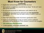 must know for counselors continued
