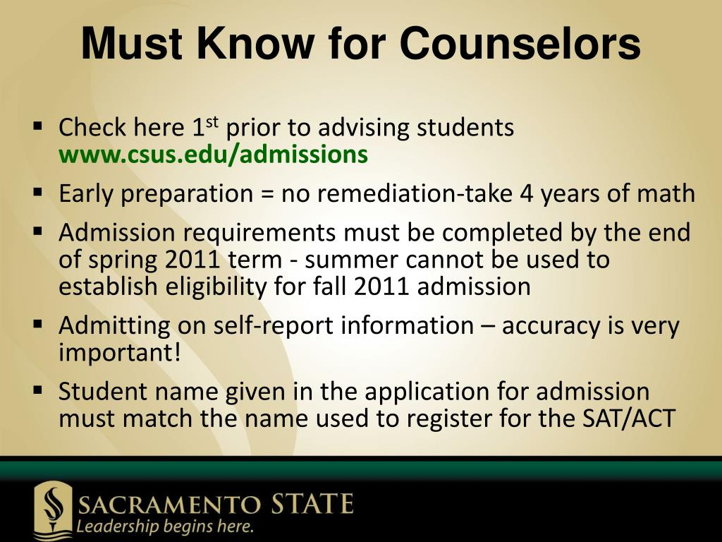 Must Know for Counselors