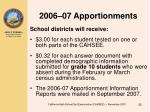 2006 07 apportionments