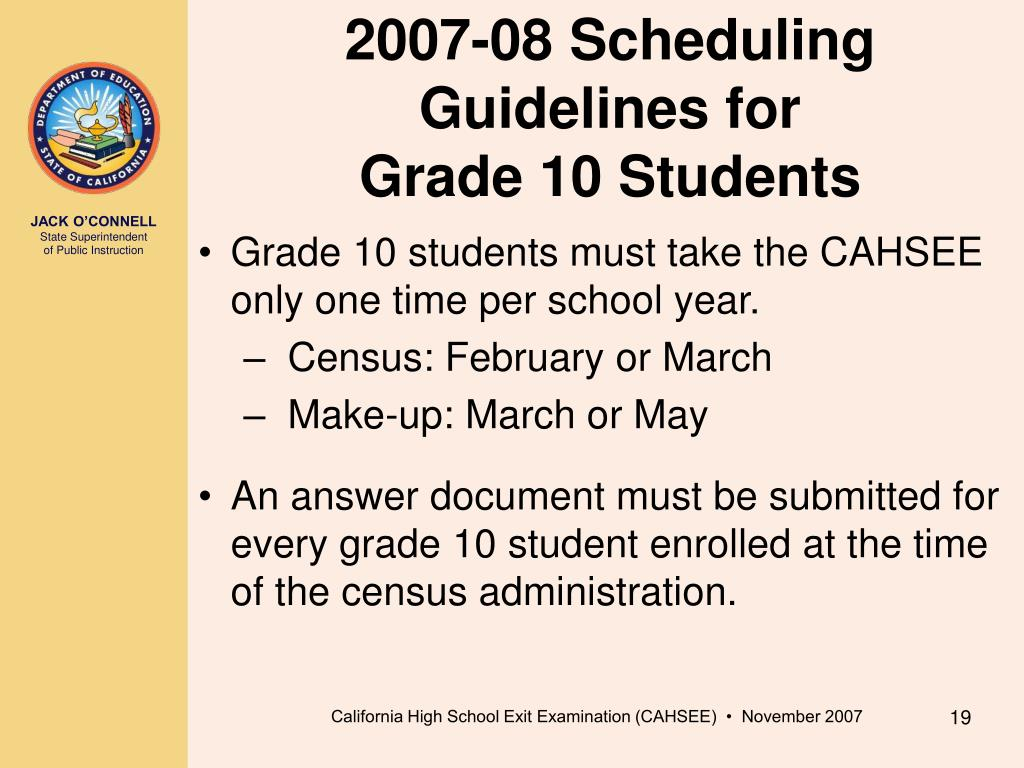 2007-08 Scheduling Guidelines for