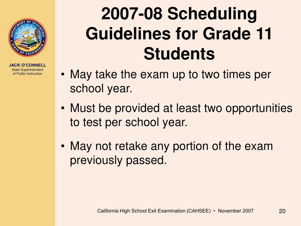 2007-08 Scheduling Guidelines for Grade 11 Students