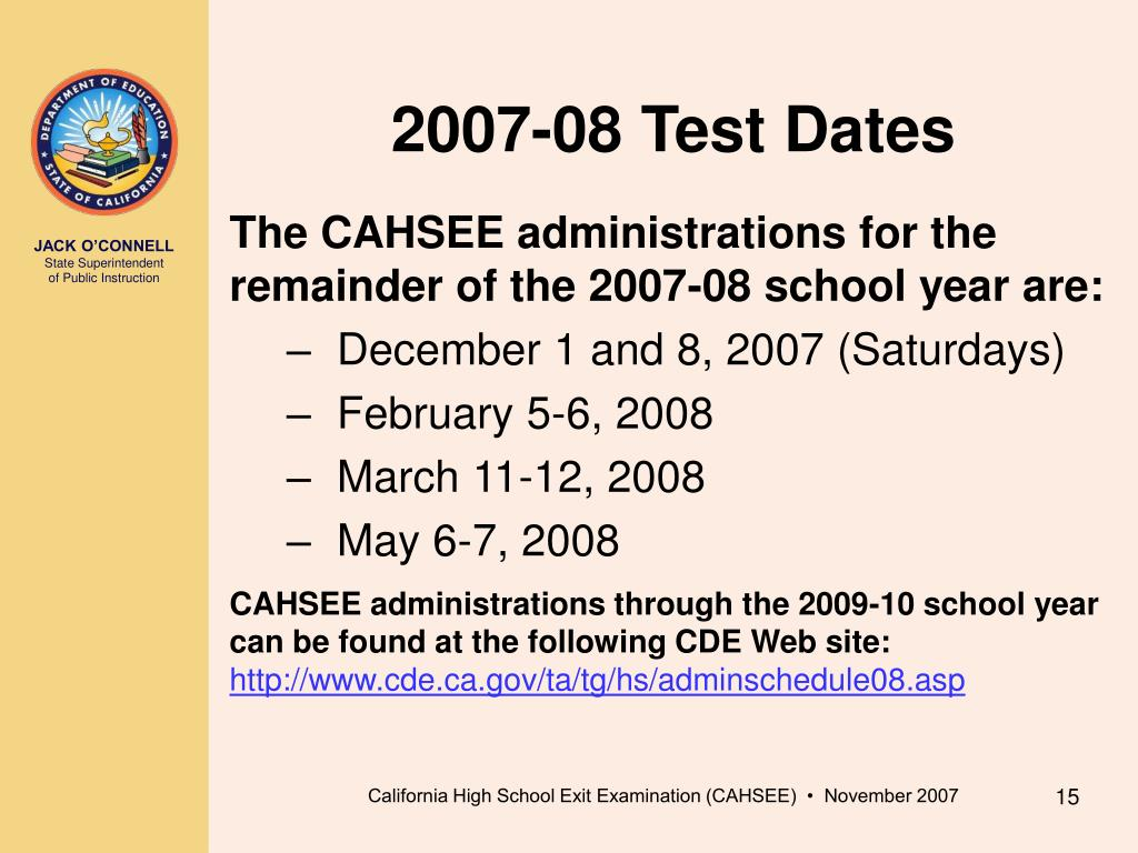2007-08 Test Dates