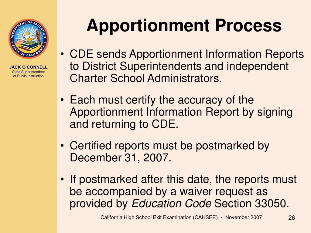 Apportionment Process