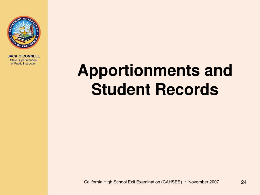 Apportionments and Student Records