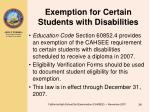 exemption for certain students with disabilities