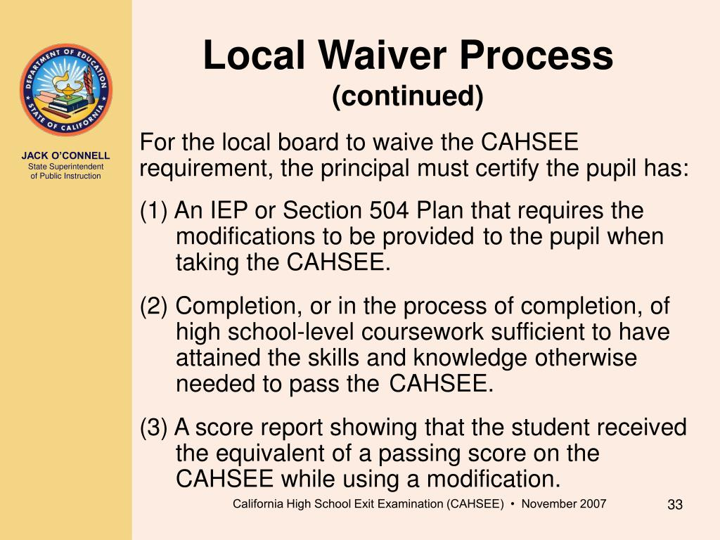 Local Waiver Process