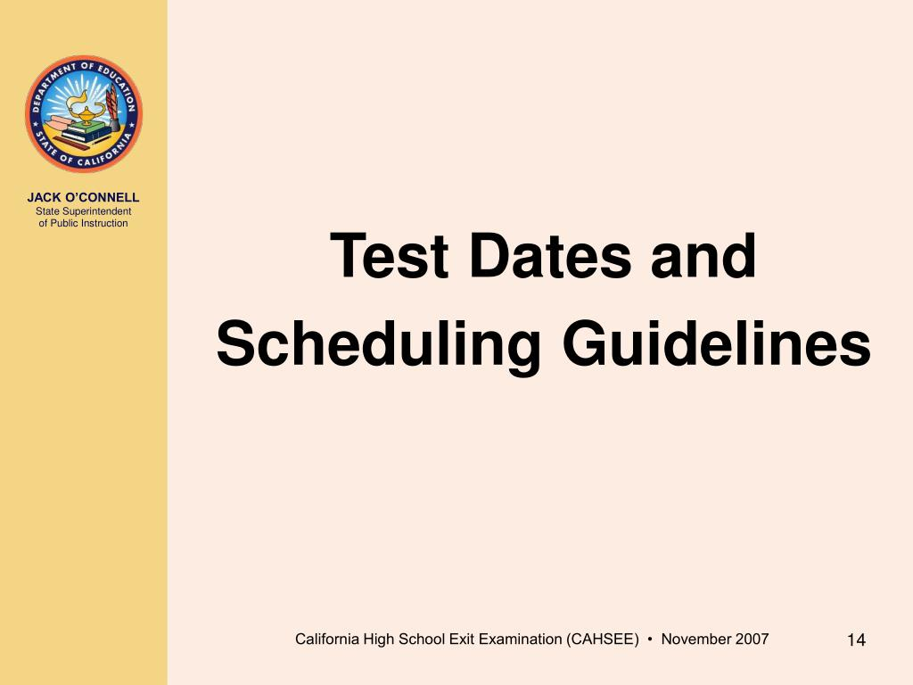 Test Dates and