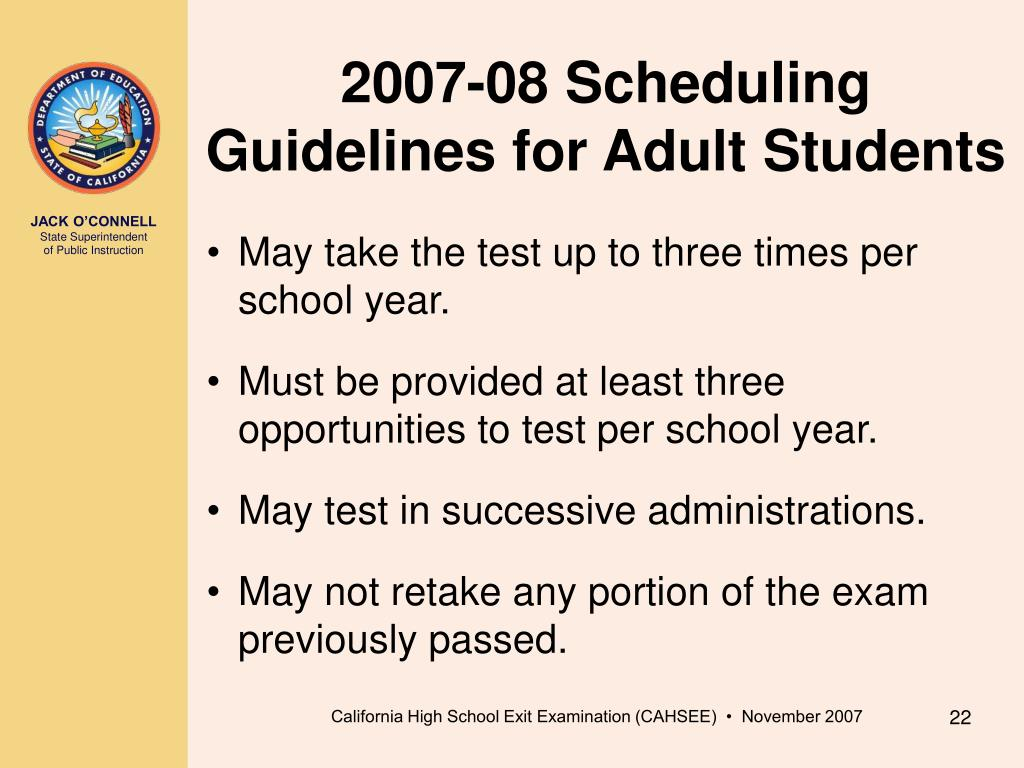 2007-08 Scheduling Guidelines for Adult Students