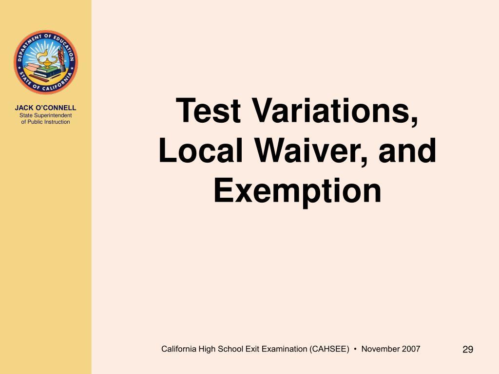 Test Variations,
