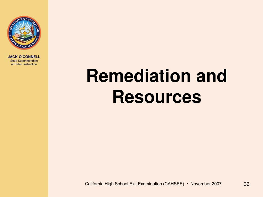 Remediation and Resources