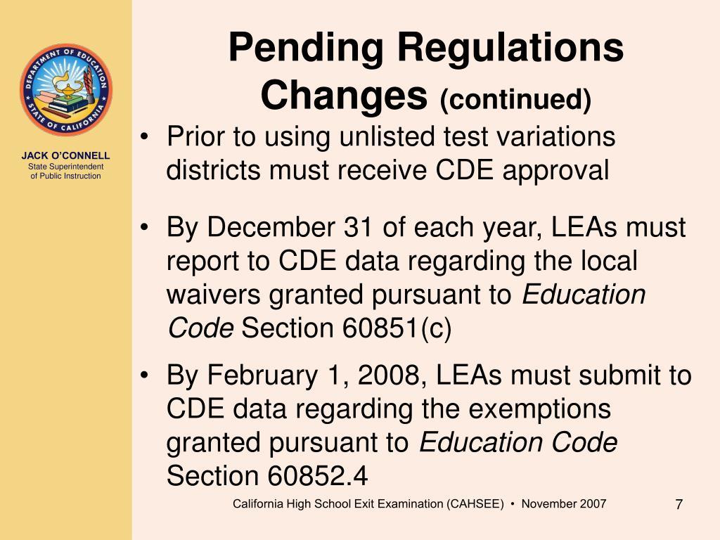 Pending Regulations Changes