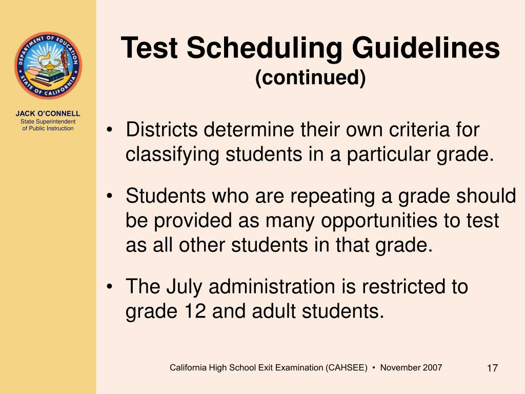 Test Scheduling Guidelines