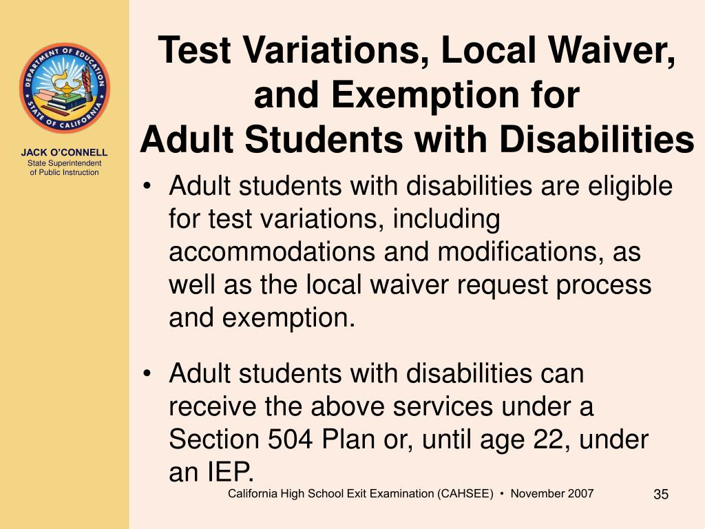 Test Variations, Local Waiver, and Exemption for