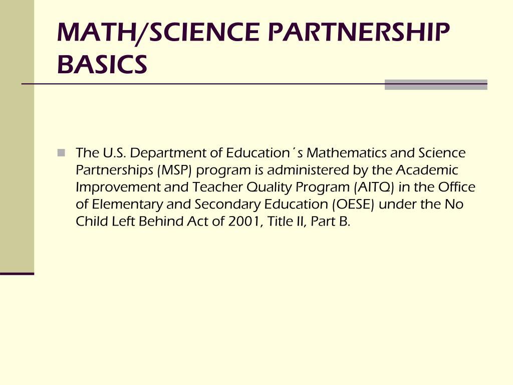 math science partnership basics