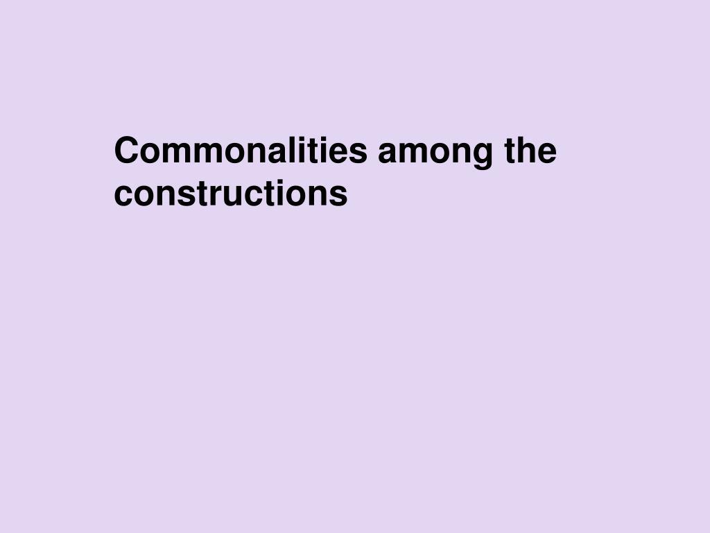 Commonalities among the