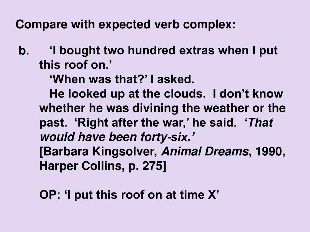 Compare with expected verb complex: