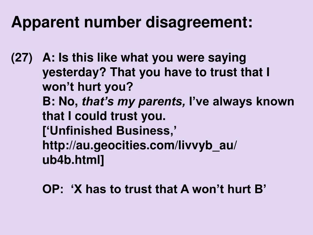 Apparent number disagreement: