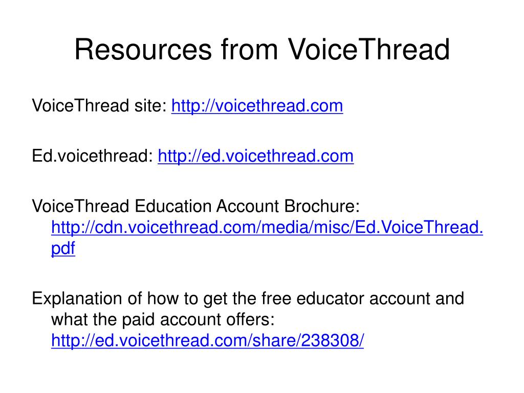 Resources from VoiceThread