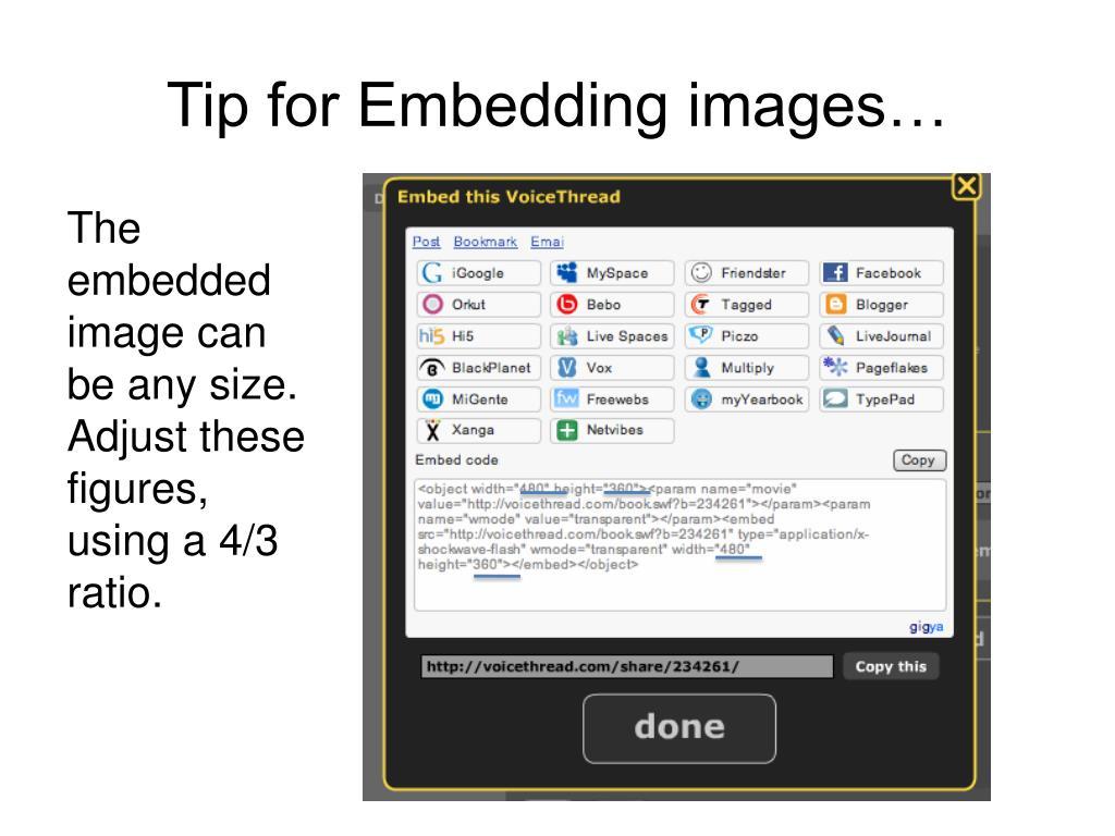 Tip for Embedding images…