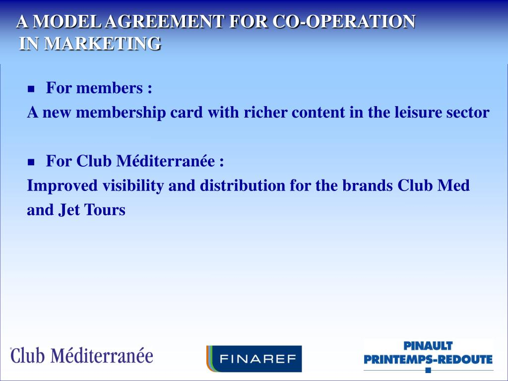 A MODEL AGREEMENT FOR CO-OPERATION
