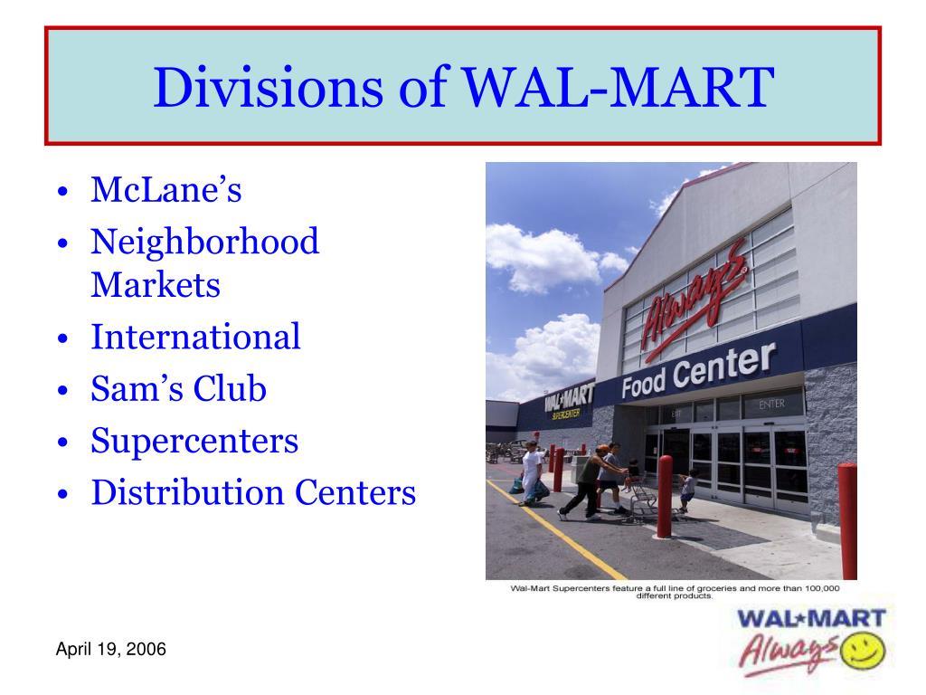Divisions of WAL-MART