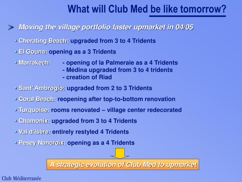 What will Club Med be like tomorrow?