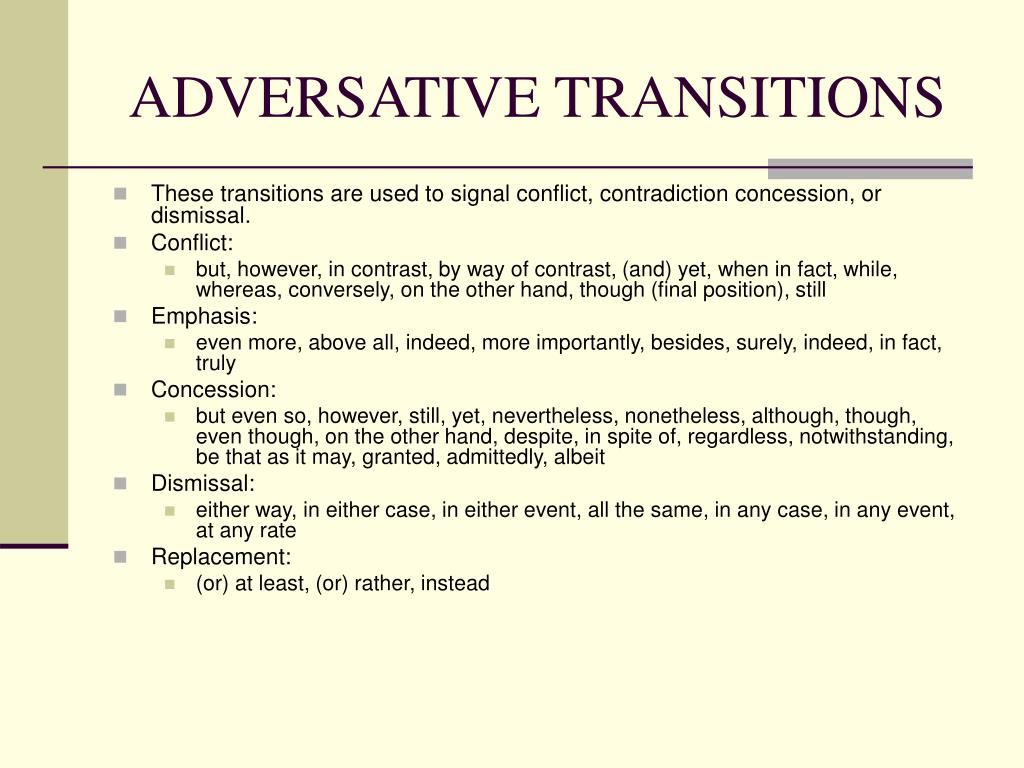 ADVERSATIVE TRANSITIONS