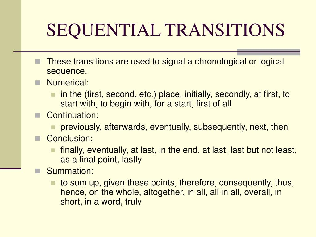 SEQUENTIAL TRANSITIONS