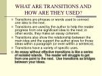 what are transitions and how are they used