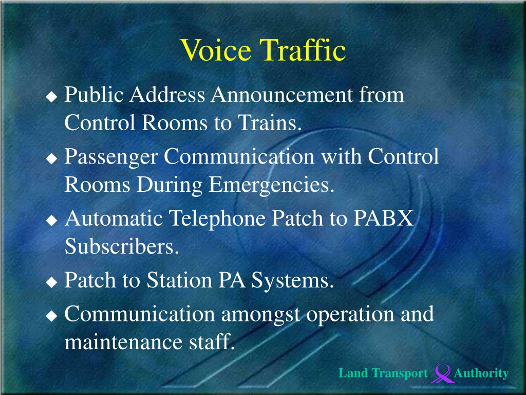 Public Address Announcement from Control Rooms to Trains.