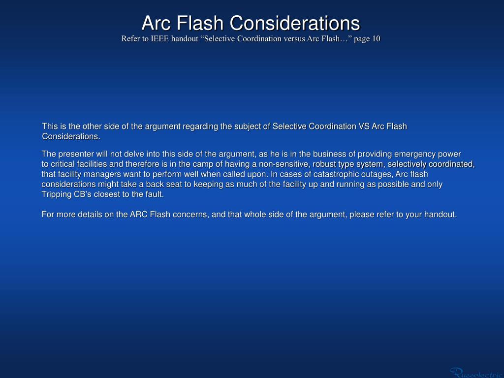 Arc Flash Considerations