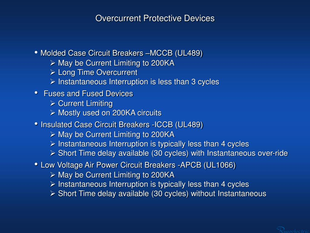 Overcurrent Protective Devices