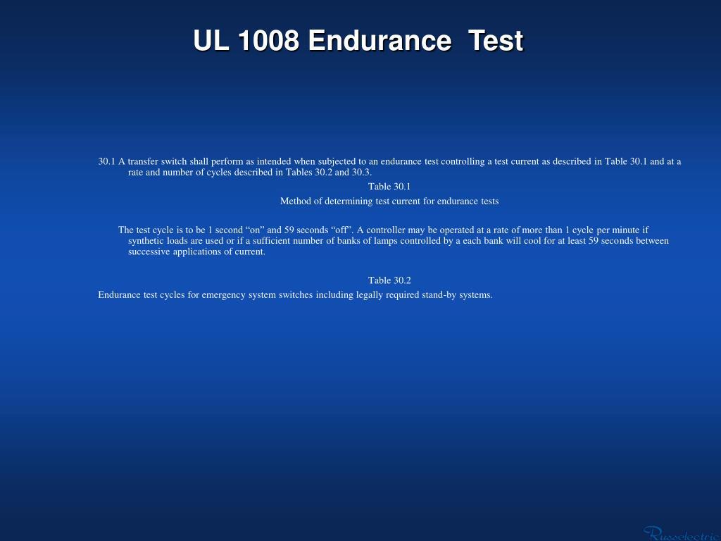 UL 1008 Endurance  Test