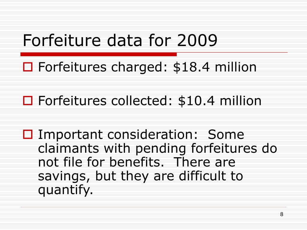 Forfeiture data for 2009