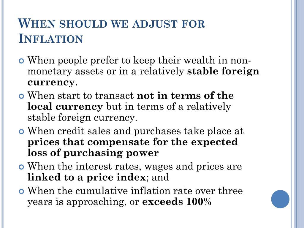 When should we adjust for Inflation